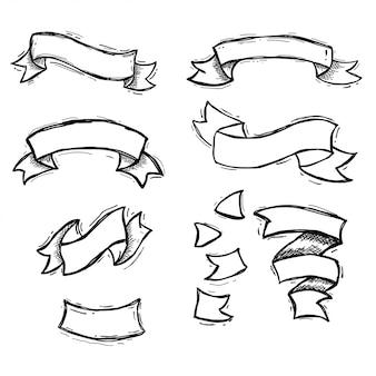 手描きリボン、ビンテージレトロとグランジベクトルデザインのセット