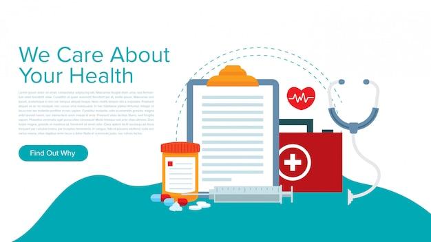 ヘルスケアシステムのランディングページテンプレートデザインのモダンなベクトルイラスト。