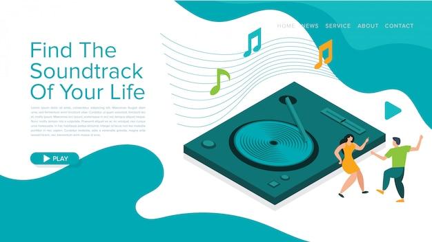音楽ウェブサイトのページまたはランディングページのテンプレートデザインのモダンなベクトルイラスト。