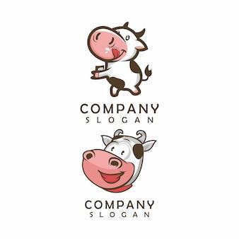 Корова логотип, шаблон, иллюстрация