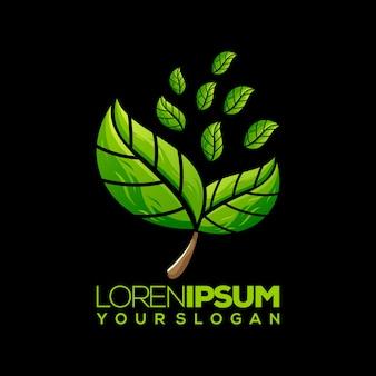葉のロゴ、テンプレート、イラスト