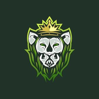 ライオンの葉のロゴ、テンプレート。図