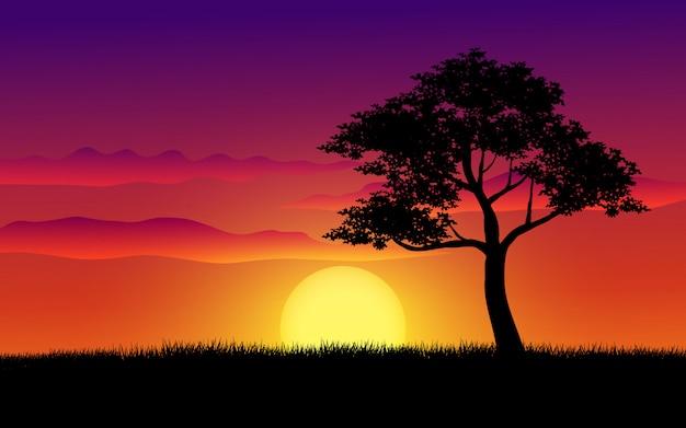 Силуэт дерева с заката
