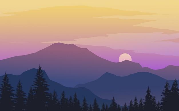 Пасмурный закат в горах с лесом