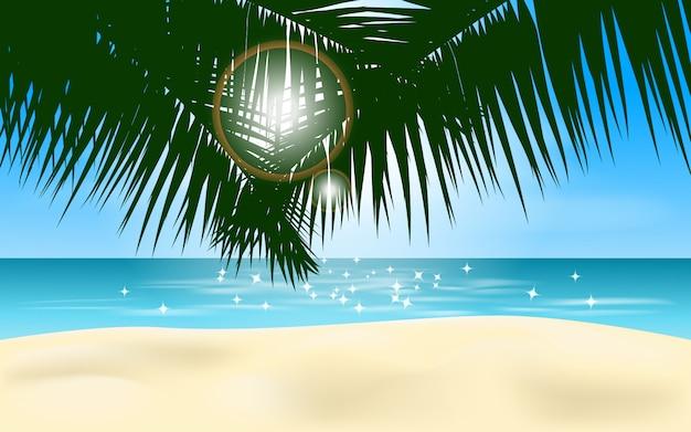 Пляжный пейзаж с пальмовых листьев и солнечного света