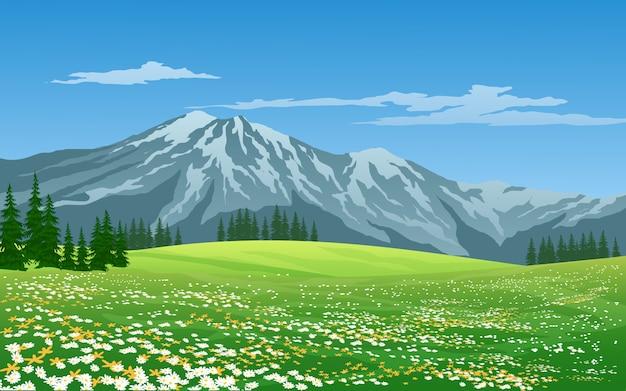 Зеленый луг и гора с голубым небом