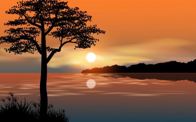 木のシルエットと川の美しい夕日