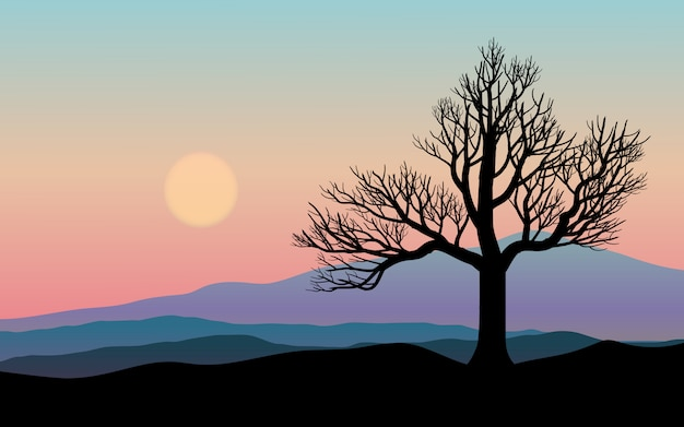 Природа фон с градиентом небо, холмы и силуэт дерева