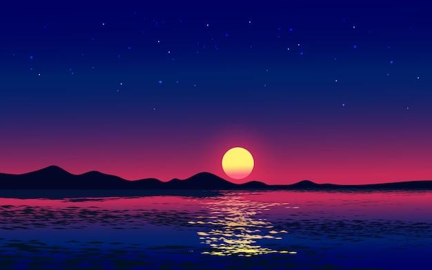 Иллюстрация вечернего неба с полной луной, поднимаясь над морем