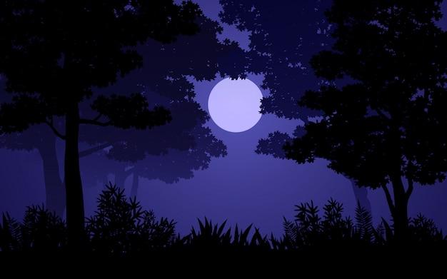 Лесной ночной пейзаж с лунным светом