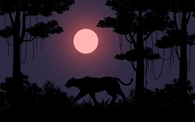 Темная ночь в лесу с диким животным