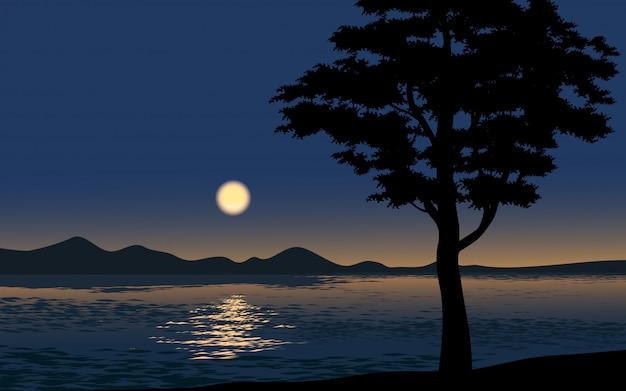 Ночная иллюстрация с силуэтом дерева и моря