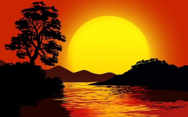 Закат пейзаж с большим солнцем и рекой