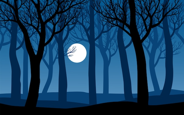 Лес с мертвыми деревьями и луной