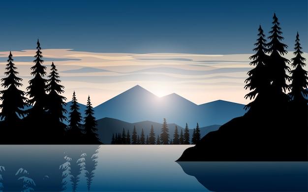 Восход солнца над озером с горы
