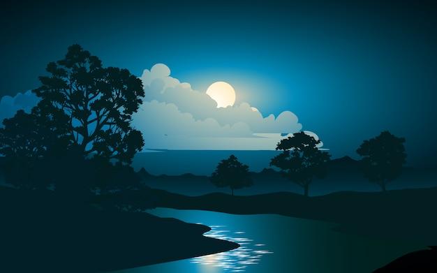 Река ночью векторная иллюстрация