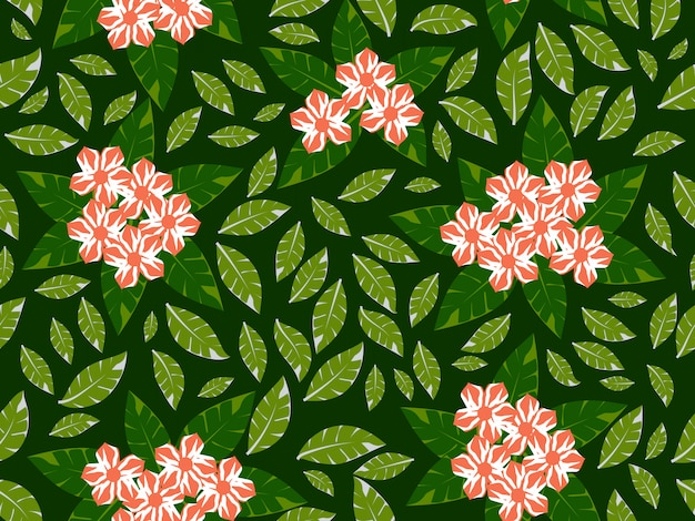 緑の背景のシームレスなパターンを持つ花