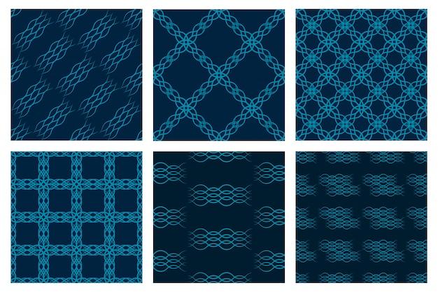 青のストライプと幾何学的なシームレスパターンのセット