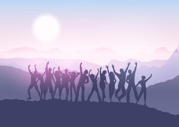 日没の風景の中のパーティーの群衆
