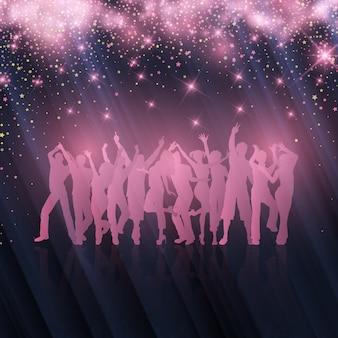 星空の背景にパーティーの群衆