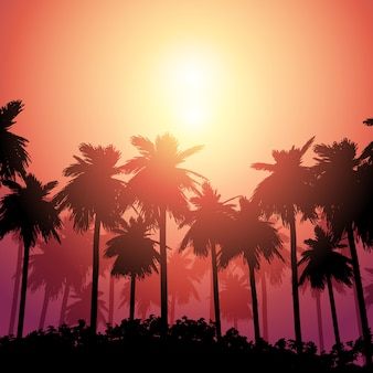 夕焼け空に対してヤシの木の風景
