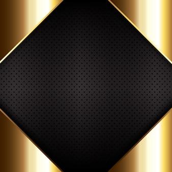 穴あき金属のテクスチャ背景に金の金属