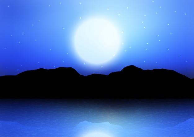 月に照らされた空に対して山のシルエット