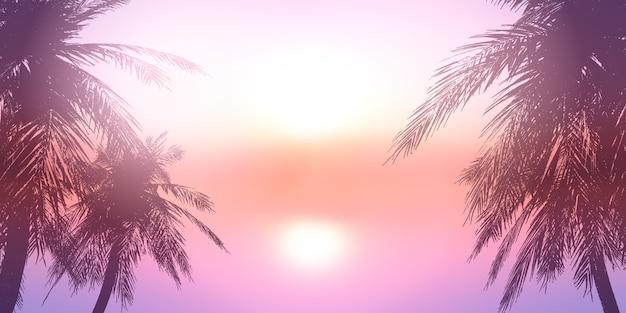 夕日の海の風景に対してヤシの木