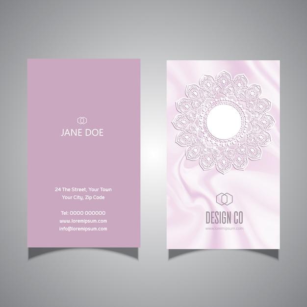 エレガントなピンクのレースデザイン名刺テンプレート