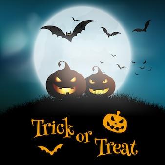 Хэллоуин фон с тыквами на фоне лунного неба