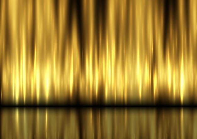 金色のカーテンで背景を表示