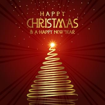 Золотая новогодняя елка фон