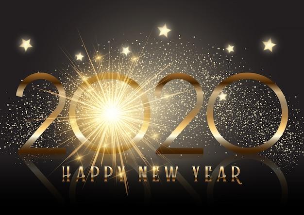 輝き効果とゴールドの新年の背景