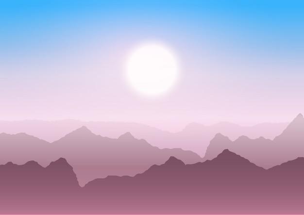 日没時の山の風景