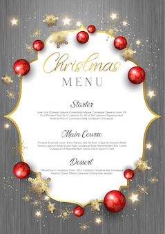 Рождественское меню на текстуру дерева