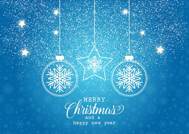 Рождественский фон с висящими безделушками с дизайном снежинки