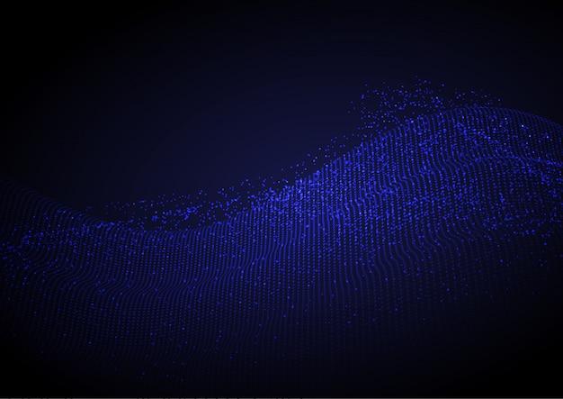 流れるドットと抽象的な背景
