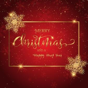 装飾テキストとキラキラ雪の結晶クリスマス