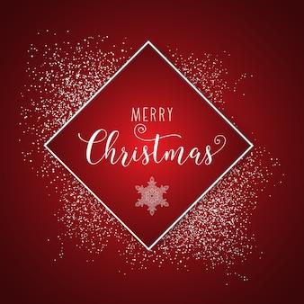 空白のフレームとクリスマス雪