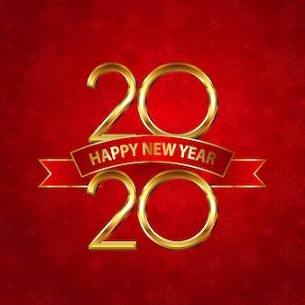 金の数字と赤いリボンと幸せな新年カード