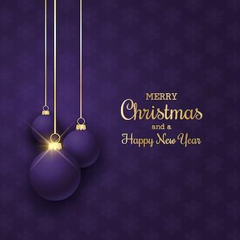 Элегантный новогодний фон с висящими фиолетовыми шарами