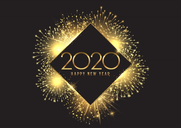 黄金の花火で幸せな新年の背景