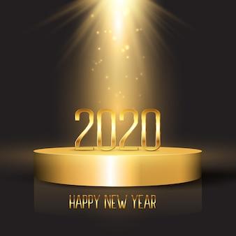 表彰台のディスプレイ上の数字で幸せな新年の背景