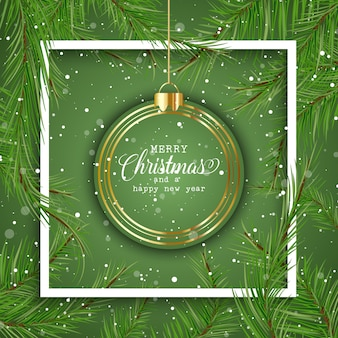Рождественский фон с висящей безделушкой