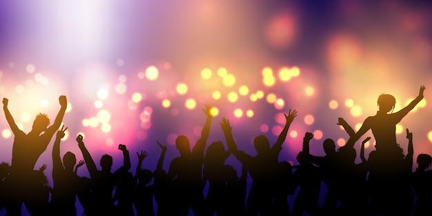 ナイトクラブで踊るパーティー群衆シルエット