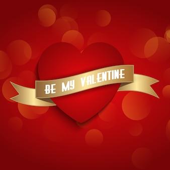 День святого валентина фон с сердцем и лентой