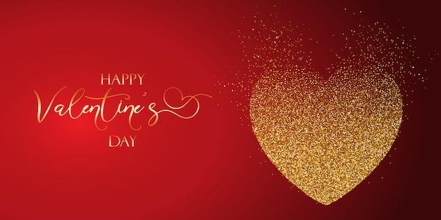 День святого валентина баннер с блестящим сердцем
