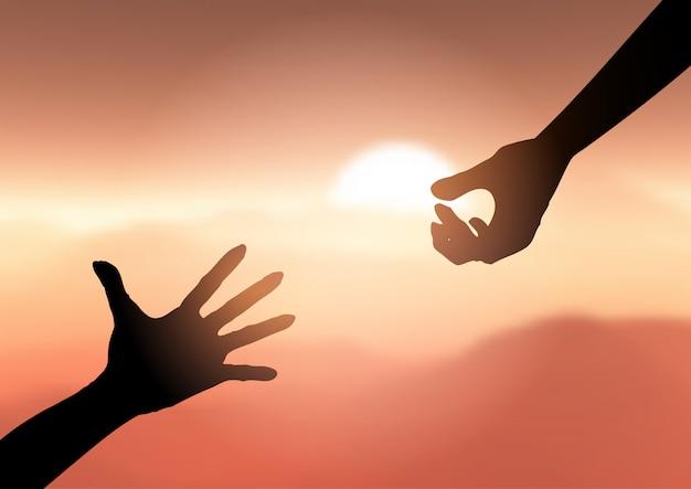 Силуэт руки тянутся, чтобы помочь