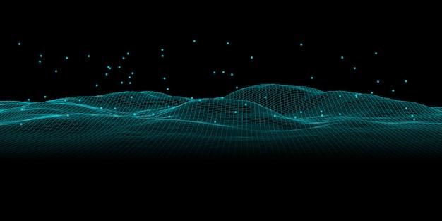 暗闇の中で波状の抽象的な線