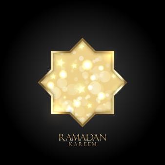 ゴールドのボケ味のライトと星とラマダンカリームの背景